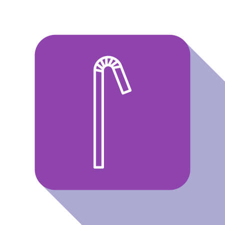 White line Drinking plastic straw icon isolated on white background. Purple square button. Vector Illustration.