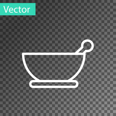 White line Mortar and pestle icon isolated on transparent background. Vector Illustration. 向量圖像