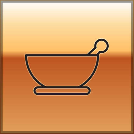 Black line Mortar and pestle icon isolated on gold background. Vector Illustration.