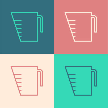 Pop art line Measuring cup to measure dry and liquid food icon isolated on color background. Plastic graduated beaker with handle. Vector Illustration. Ilustrace