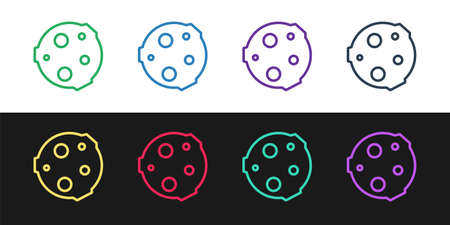 Set line Moon icon isolated on black and white background.  Vector Illustration.