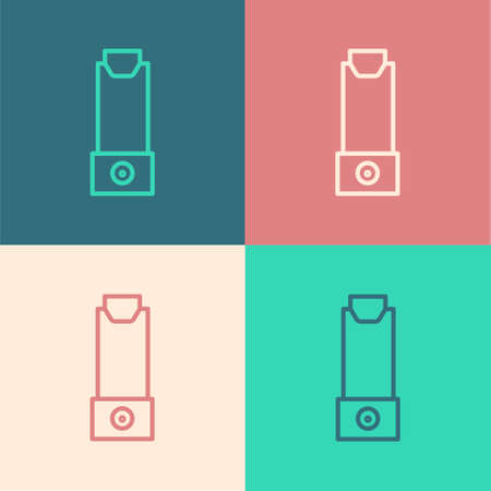 Pop art line Inhaler icon isolated on color background. Breather for cough relief, inhalation, allergic patient. Vector Illustration.