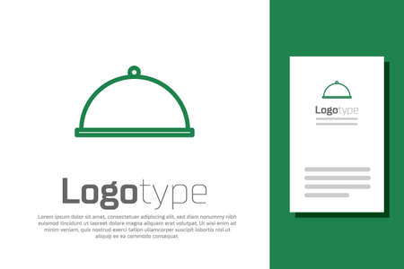 Green line Covered with a tray of food icon isolated on white background. Tray and lid. Restaurant cloche with lid. Kitchenware symbol. Logo design template element. Vector Illustration.