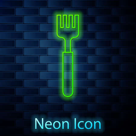Glowing neon line Fork icon isolated on brick wall background. Cutlery symbol. Vector Illustration.