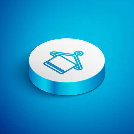 Isometric line Towel on a hanger icon isolated on blue background. Bathroom towel icon. White circle button. Vector Illustration.