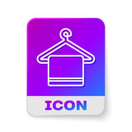 White line Towel on a hanger icon isolated on white background. Bathroom towel icon. Rectangle color button. Vector Illustration. Ilustrace