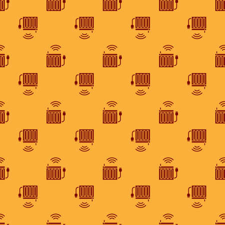 Red Smart heating radiator system icon isolated seamless pattern on brown background. Internet of things concept with wireless connection. Vector Vetores