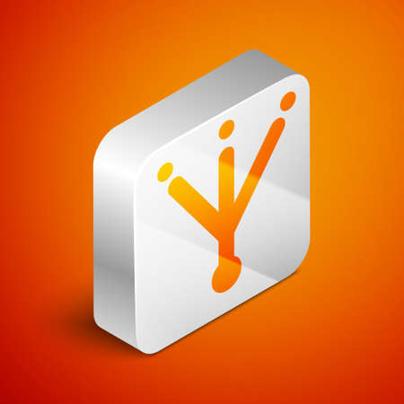 Isometric Bird footprint icon isolated on orange background. Animal foot. Silver square button. Vector 矢量图像