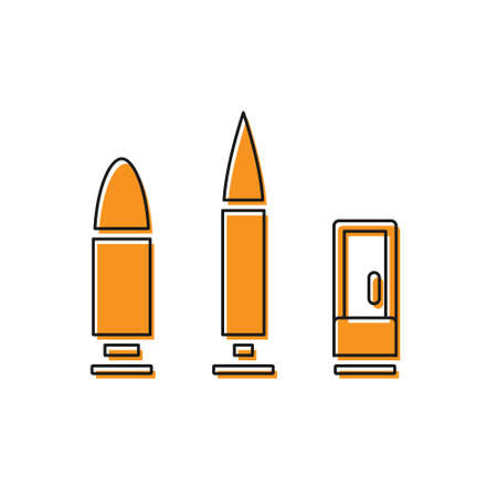 Orange Bullet and cartridge icon isolated on white background. Vector 向量圖像