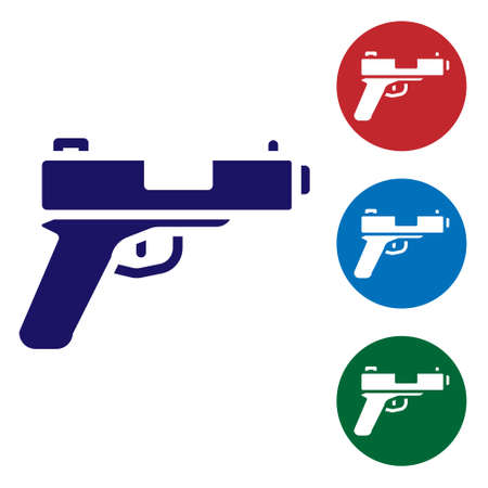 Blue Pistol or gun icon isolated on white background. Police or military handgun. Small firearm. Set icons in color square buttons. Vector
