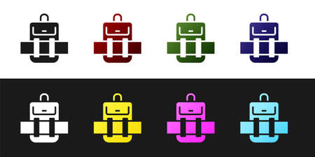 Set Hiking backpack icon isolated on black and white background. Camping and mountain exploring backpack. Vector