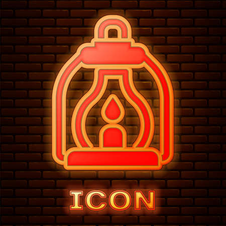 Glowing neon Camping lantern icon isolated on brick wall background. Vector