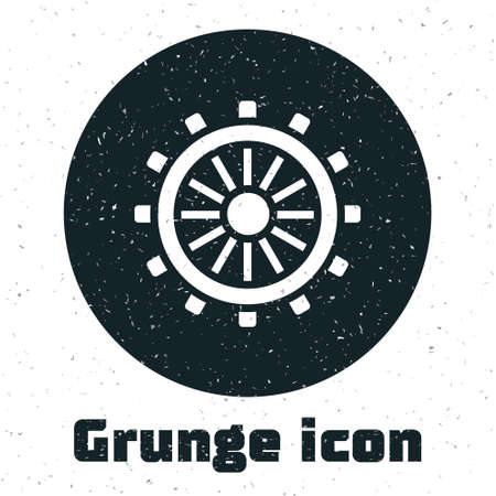 Grunge Ship steering wheel icon isolated on white background. Monochrome vintage drawing. Vector
