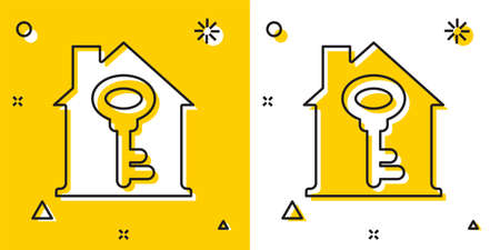 Black House with key icon isolated on yellow and white background. The concept of the house turnkey. Random dynamic shapes. Vector