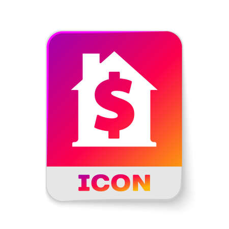 White House with dollar symbol icon isolated on white background. Home and money. Real estate concept. Rectangle color button. Vector