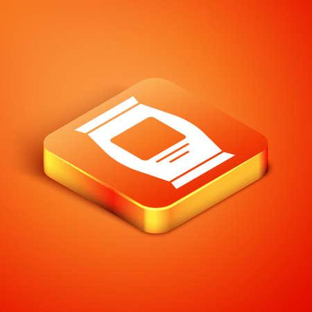 Isometric Fertilizer bag icon isolated on orange background. Vector
