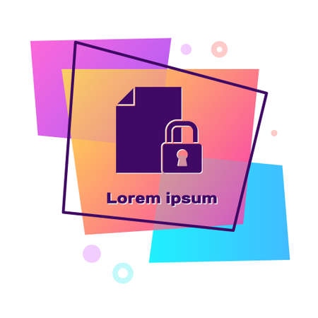 Purple Document and lock icon isolated on white background. File format and padlock. Security, safety, protection concept. Color rectangle button. Vector
