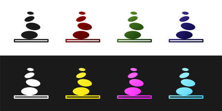Set Stack hot stones icon isolated on black and white background. Spa salon accessory. Vector