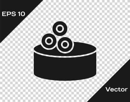 Black Tin can with caviar icon isolated on transparent background. Vector.