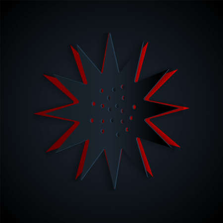 Paper cut Sea urchin icon isolated on black background. Paper art style. Vector.