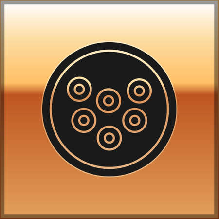 Black Caviar on a plate icon isolated on gold background. Vector.