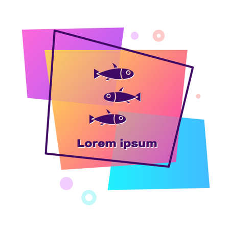 Purple Fishes icon isolated on white background. Color rectangle button. Vector.