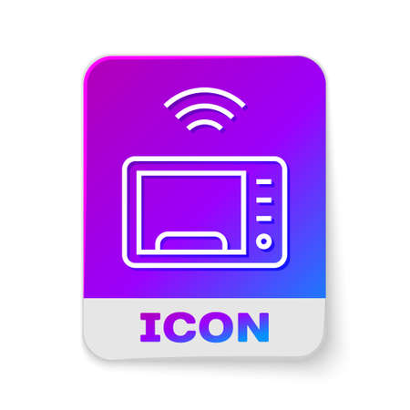 White line Smart microwave oven system icon isolated on white background. Home appliances icon. Internet of things concept with wireless connection. Rectangle color button. Vector