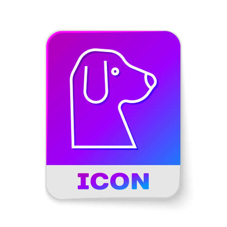 White line Dog icon isolated on white background. Rectangle color button. Vector Ilustrace