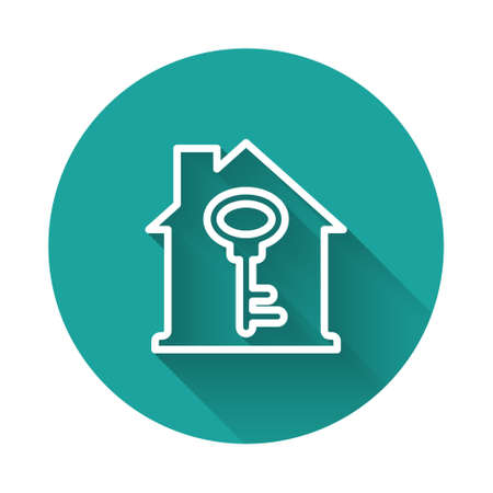 White line House with key icon isolated with long shadow. The concept of the house turnkey. Green circle button. Vector