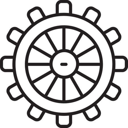 Black line Ship steering wheel icon isolated on white background. Vector 矢量图像