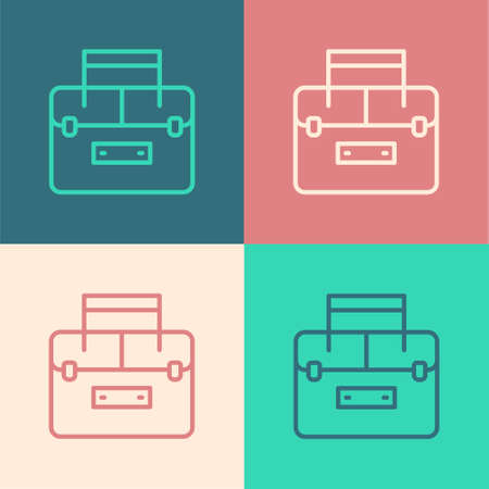 Pop art line Case or box container for wobbler and gear fishing equipment icon isolated on color background. Fishing tackle. Vector