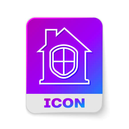 White line House under protection icon isolated on white background. Home and shield. Protection, safety, security, protect, defense concept. Rectangle color button. Vector