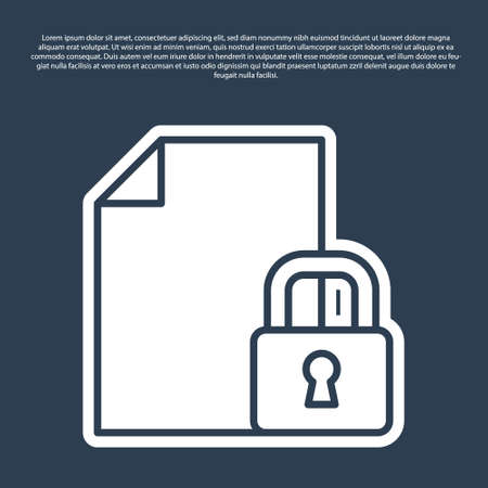 Blue line Document and lock icon isolated on blue background. File format and padlock. Security, safety, protection concept. Vector