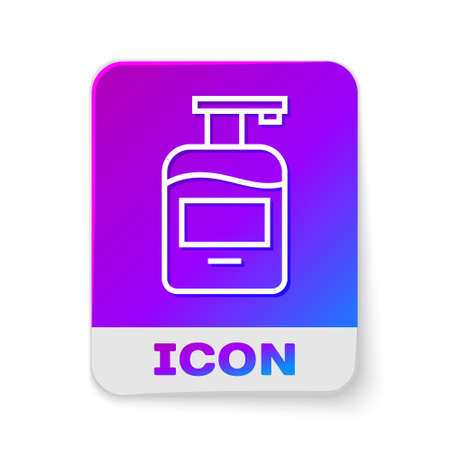 White line Bottle of liquid antibacterial soap with dispenser icon isolated on white background. Antiseptic. Disinfection, hygiene, skin care. Rectangle color button. Vector