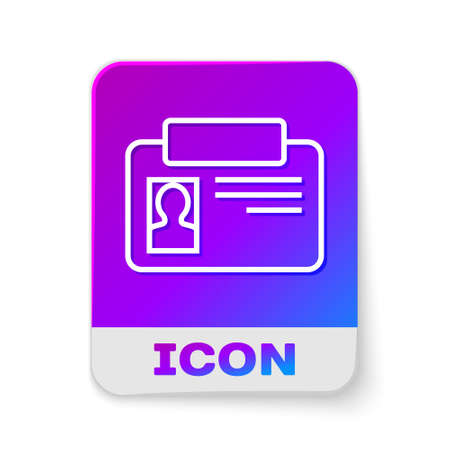 White line Identification badge icon isolated on white background. It can be used for presentation, identity of the company, advertising. Rectangle color button. Vector Ilustrace