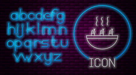 Glowing neon line Soup with shrimps icon isolated on brick wall background. Tom yum kung soup. Neon light alphabet. Vector.