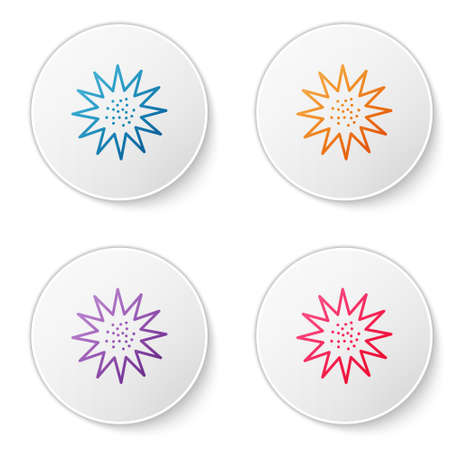 Color line Sea urchin icon isolated on white background. Set icons in circle buttons. Vector. Ilustração