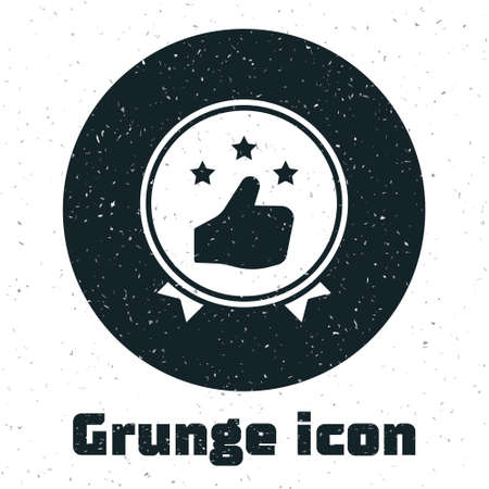 Grunge Consumer or customer product rating icon isolated on white background. Monochrome vintage drawing. Vector Illustration Ilustrace