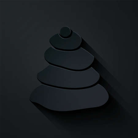 Paper cut Stack hot stones icon isolated on black background. Spa salon accessory. Paper art style. Vector Illustration 向量圖像
