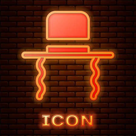 Glowing neon Orthodox jewish hat with sidelocks icon isolated on brick wall background. Jewish men in the traditional clothing. Judaism symbols.  Vector Illustration.