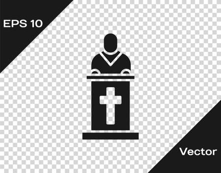 Black Church pastor preaching icon isolated on transparent background. Vector Illustration
