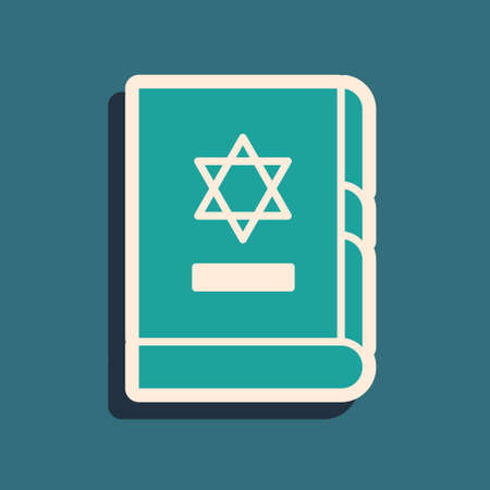Green Jewish torah book icon isolated on green background. On the cover of the Bible is the image of the Star of David. Long shadow style. Vector Illustration
