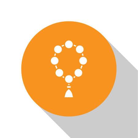 White Rosary beads religion icon isolated on white background. Orange circle button. Vector Illustration