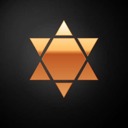 Gold Star of David icon isolated on black background. Jewish religion symbol. Symbol of Israel. Vector Illustration