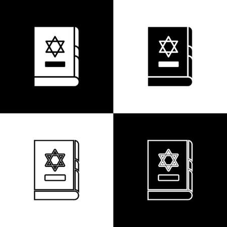Set Jewish torah book icon isolated on black and white background. On the cover of the Bible is the image of the Star of David. Vector Illustration Illusztráció