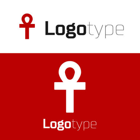 Red Cross ankh icon isolated on white background. Logo design template element. Vector Illustration 일러스트