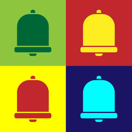 Pop art Church bell icon isolated on color background. Alarm symbol, service bell, handbell sign, notification symbol. Vector Illustration