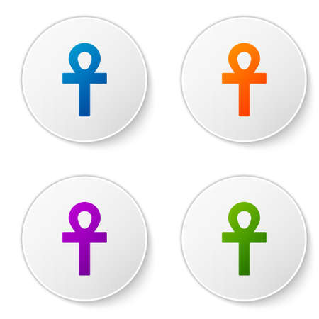 Color Cross ankh icon isolated on white background. Set icons in circle buttons. Vector Illustration