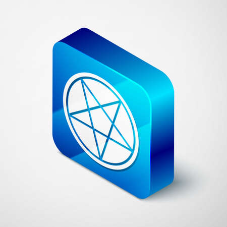 Isometric Pentagram in a circle icon isolated on grey background. Magic occult star symbol. Blue square button. Vector Illustration