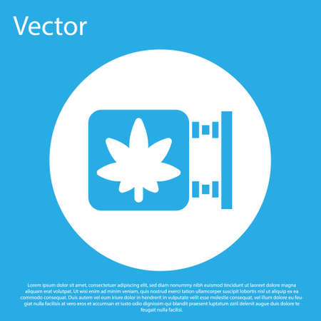 Blue Marijuana and cannabis store icon isolated on blue background. Equipment and accessories for smoking, storing medical cannabis. White circle button. Vector Illustration